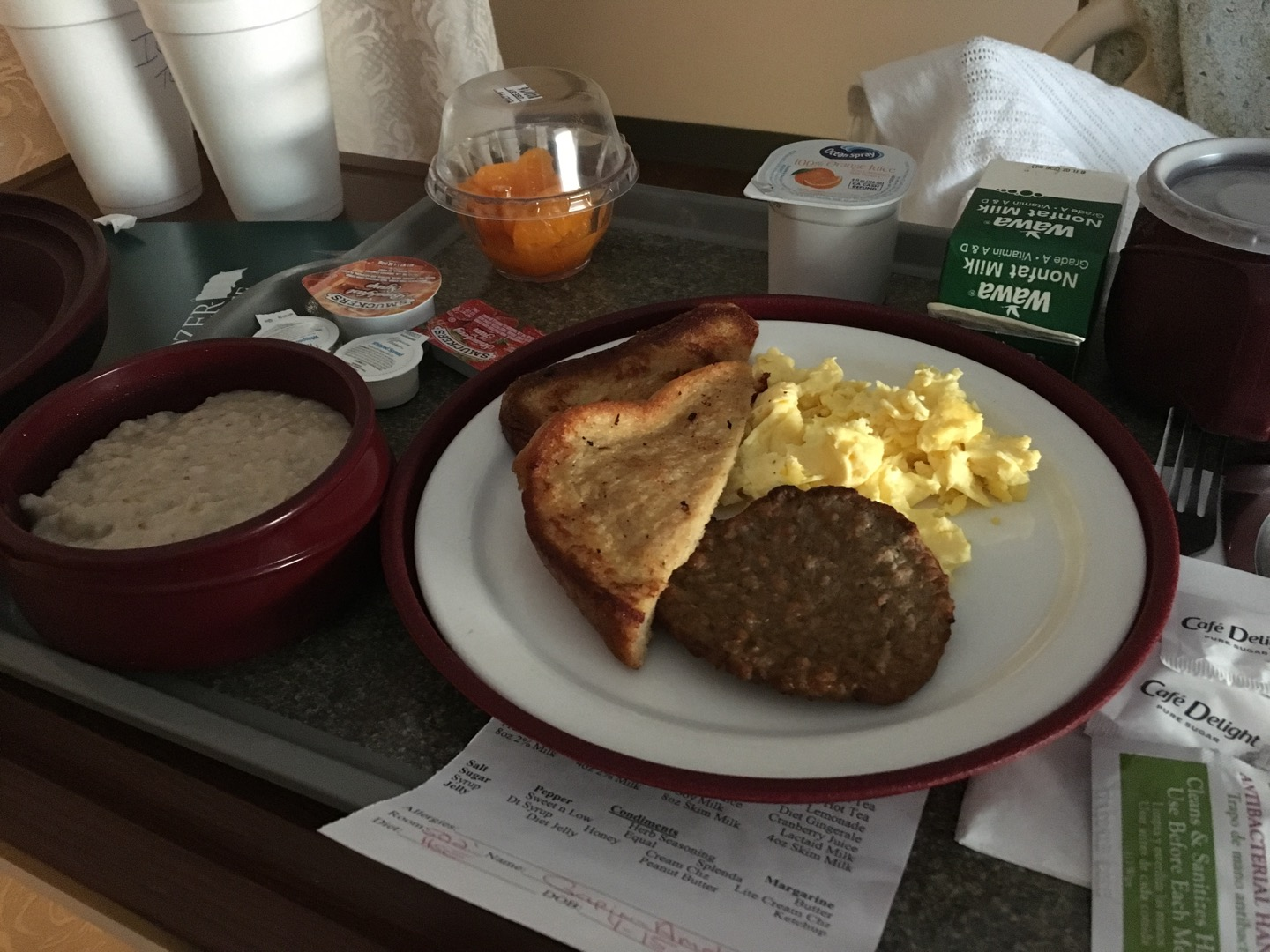 French toast, scrambled eggs, sausage, and oatmeal!