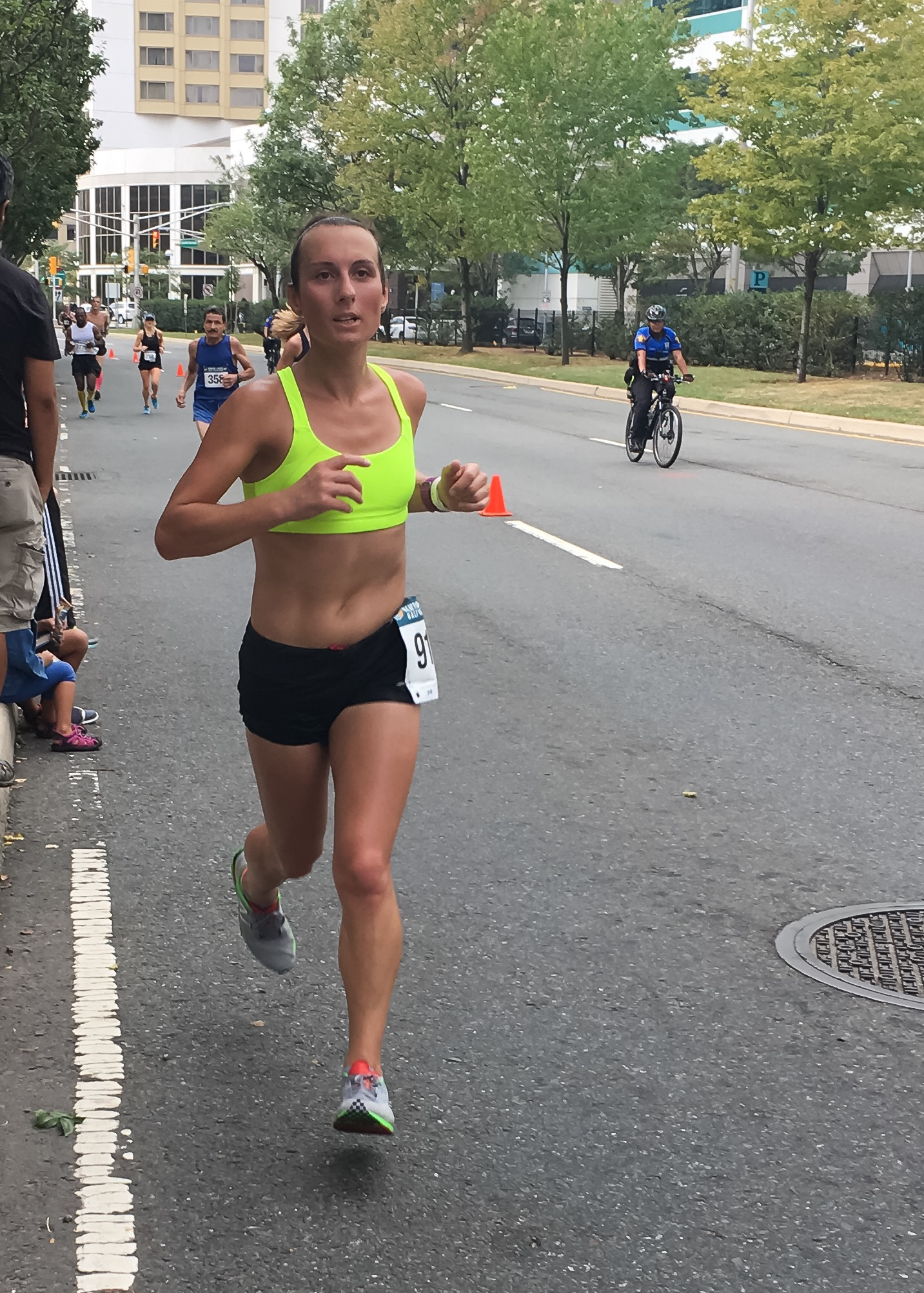 Running a new half marathon PR in just a sports bra!
