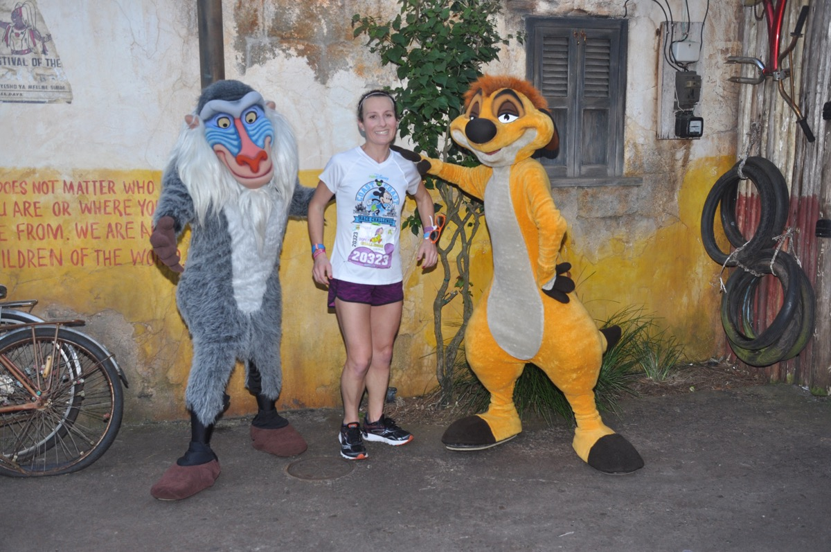 Amelia with Rafiki and Timon