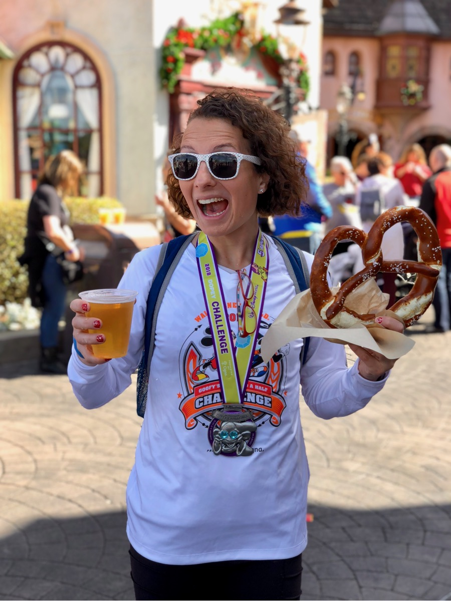 Amelia with a pretzel and beer