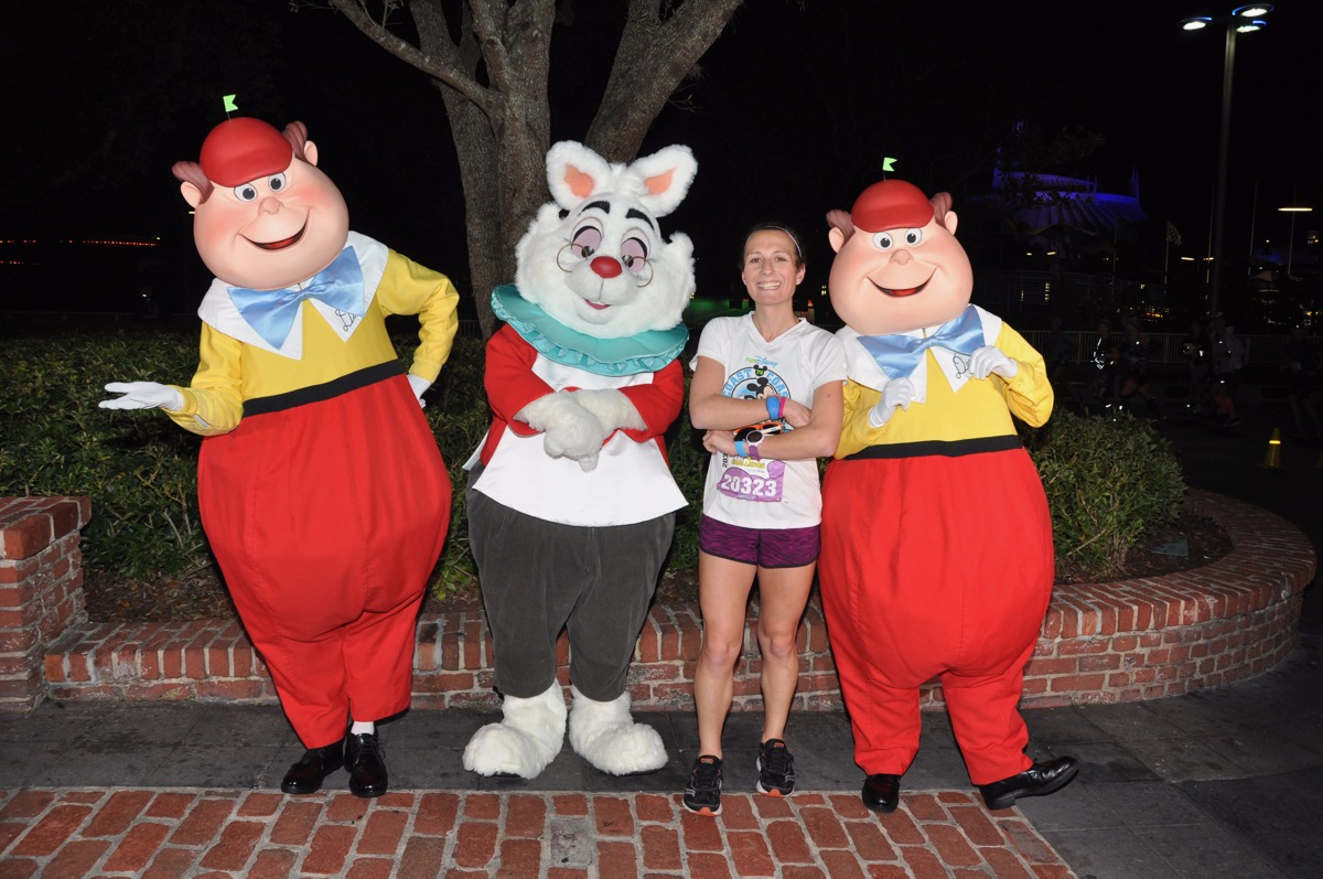 Amelia with White Rabbit, Tweedle Dee, and Tweedle Dum