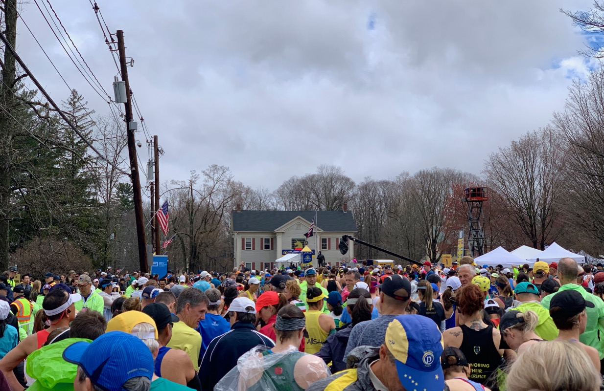 Photo of the starting line from back in corral three